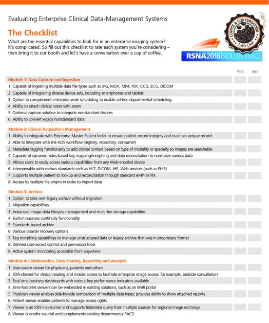 Checklist of capabilities in an enterprise imaging system