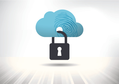 Illustration showing a cloud secured with a lock.