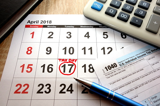 calendar with tax day circled on it