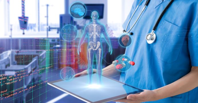 nurse holding tablet with 3D illustration of human body popping out of tablet