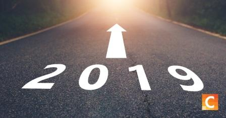 road with an image of an arrow and the words 2019