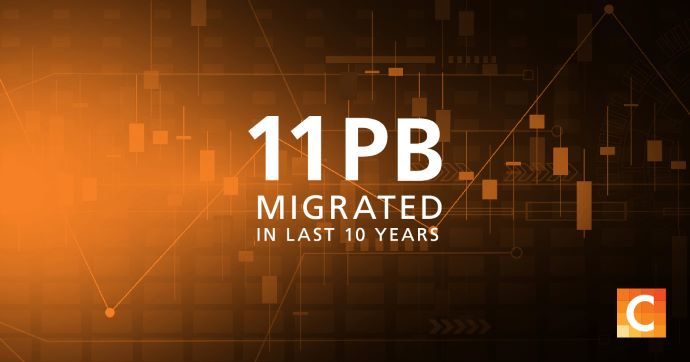 """Image saying, """"11 PB migrated in last 10 years""""."""