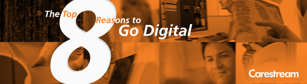 "Orange interactive image with texts ""the Top 8 Reasons to Go Digital"""