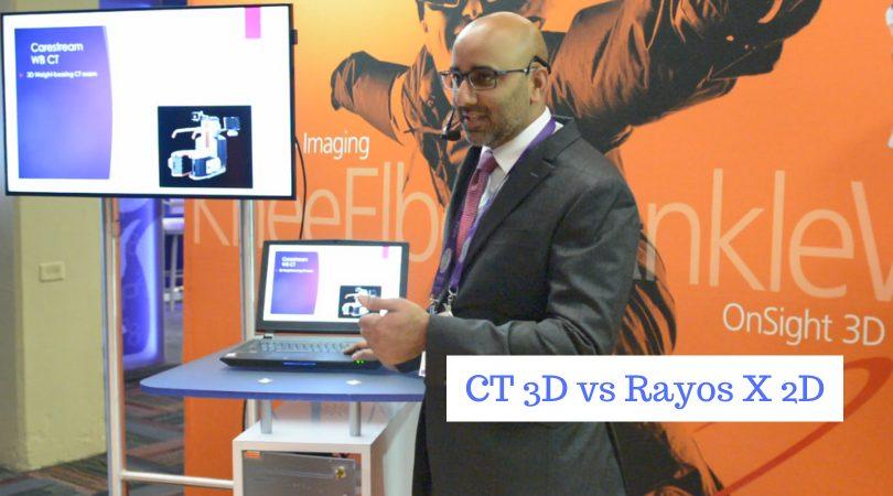 """Imagen de Anish R Kadakia presentando el sistema OnSight Extremity de Carestream, con el texto """"3D CT vs 2D X-ray"""""""