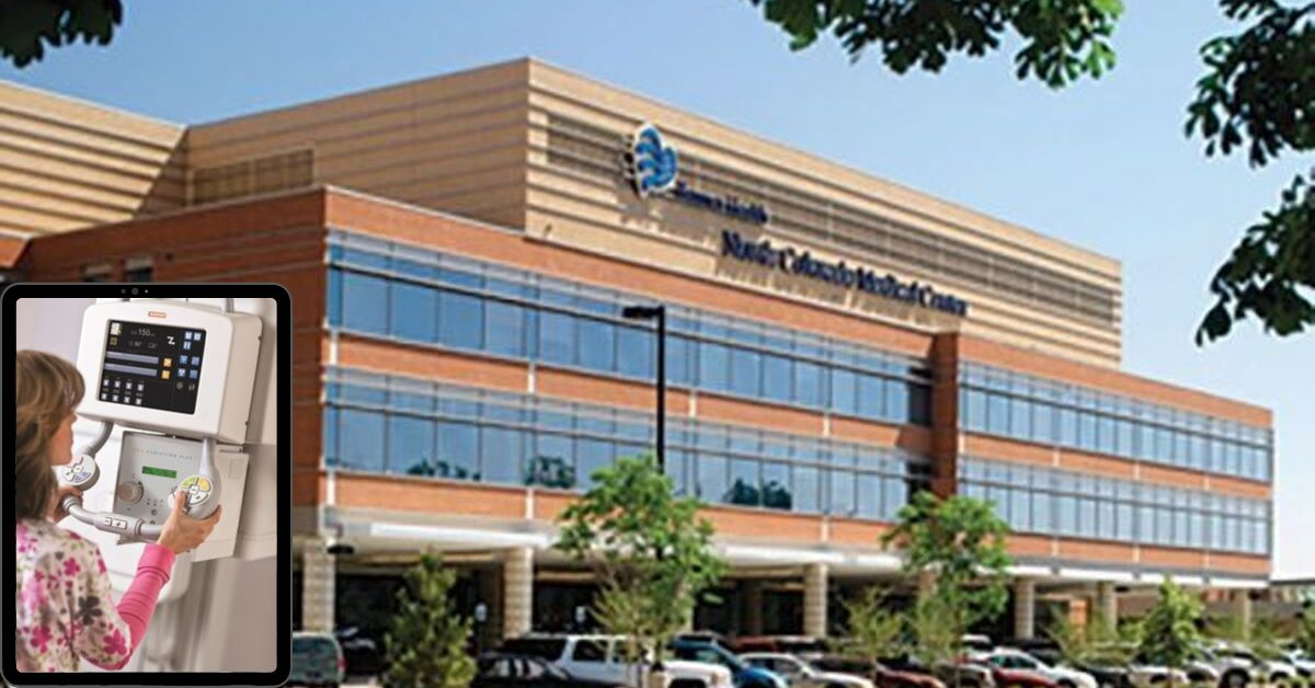 Image of North Colorado Medical Center with a smaller image of DRX-Evolution Plus in bottom left corner