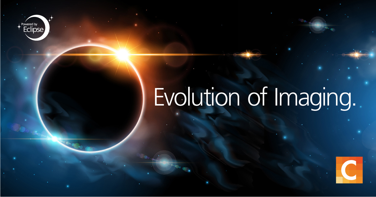 "image of galaxy with text ""Evolution of Imaging"""