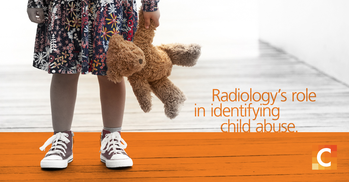 "image of waist-below of a child in a dress with teddy bear with text ""Radiology's Role in Identifying Child Abuse"""