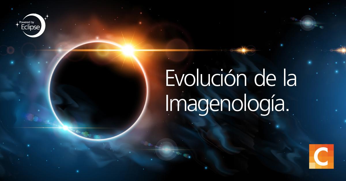 """imagen de galaxia con el texto """"evolución de la imagenlogia"""""""