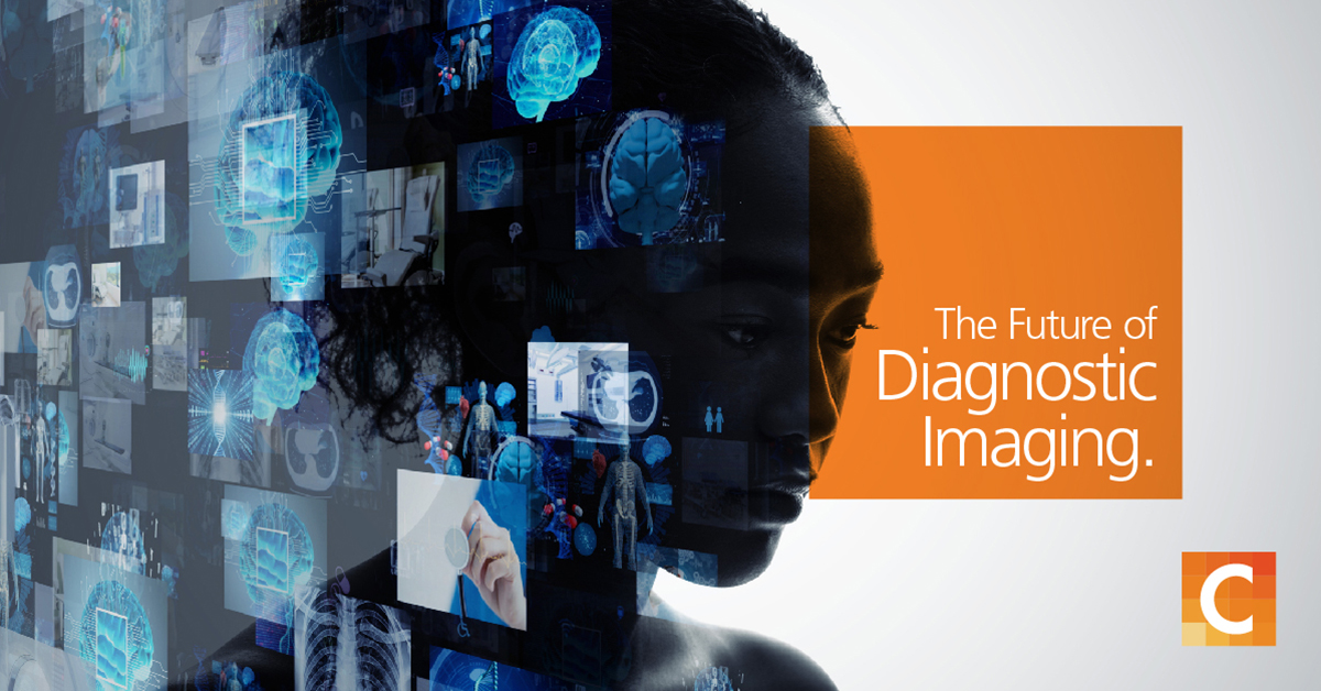 "face of a woman overlapped with illustrations of multiple x-rays and medical tech on the left side of image, on right side orange box with ""The Future of Diagnostic Imaging"""