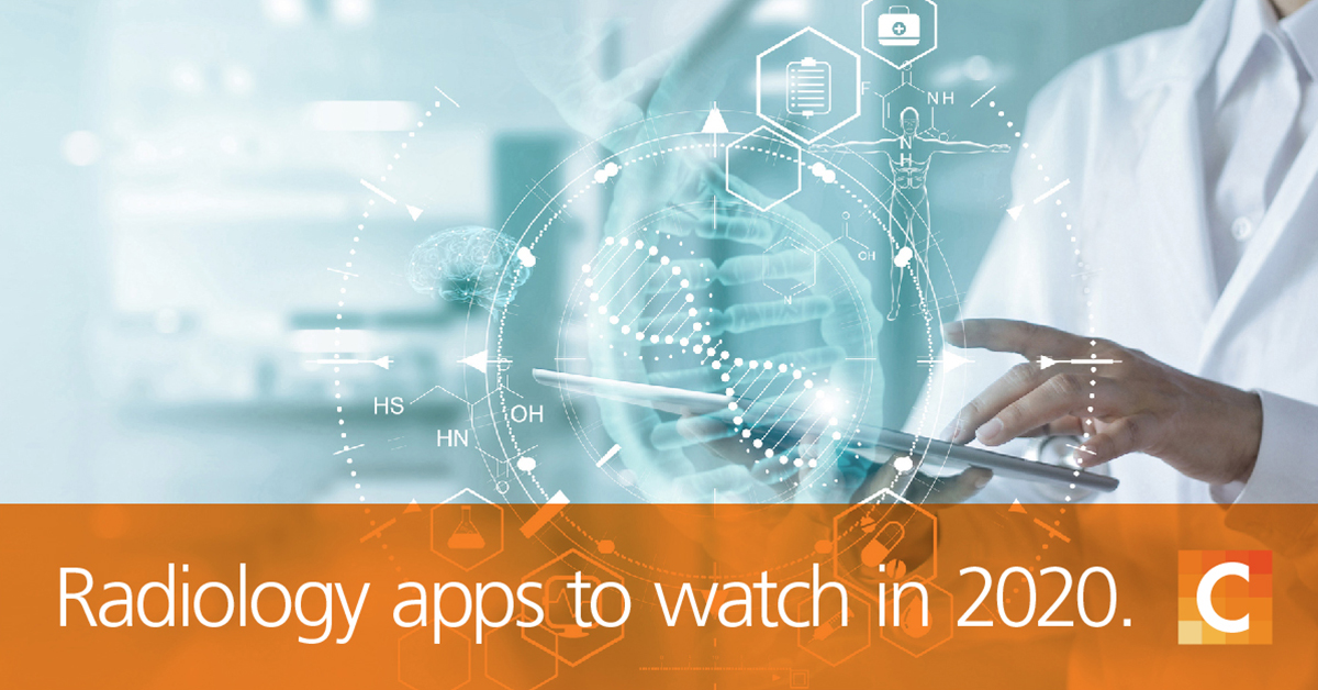 "Doctor holding tablet with medical illustrations, text on bottom of image ""Radiology apps to watch in 2020"""