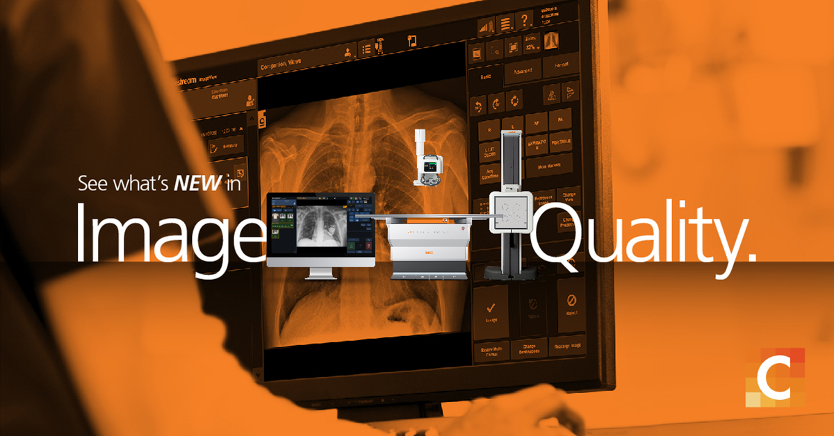 "nurse looking at chest x-ray on a PACs , Text - ""see what's new in Image quality"" with DT system, DRX-Ascend system between the words 'Image Quality'"