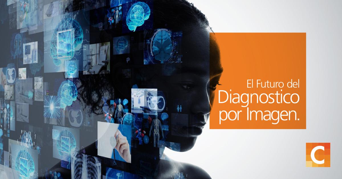 """cara de una mujer superpuesta con ilustraciones de múltiples rayos X y tecnología médica en el lado izquierdo de la imagen, en el cuadro naranja del lado derecho con """"El futuro de las imágenes de diagnóstico"""""""