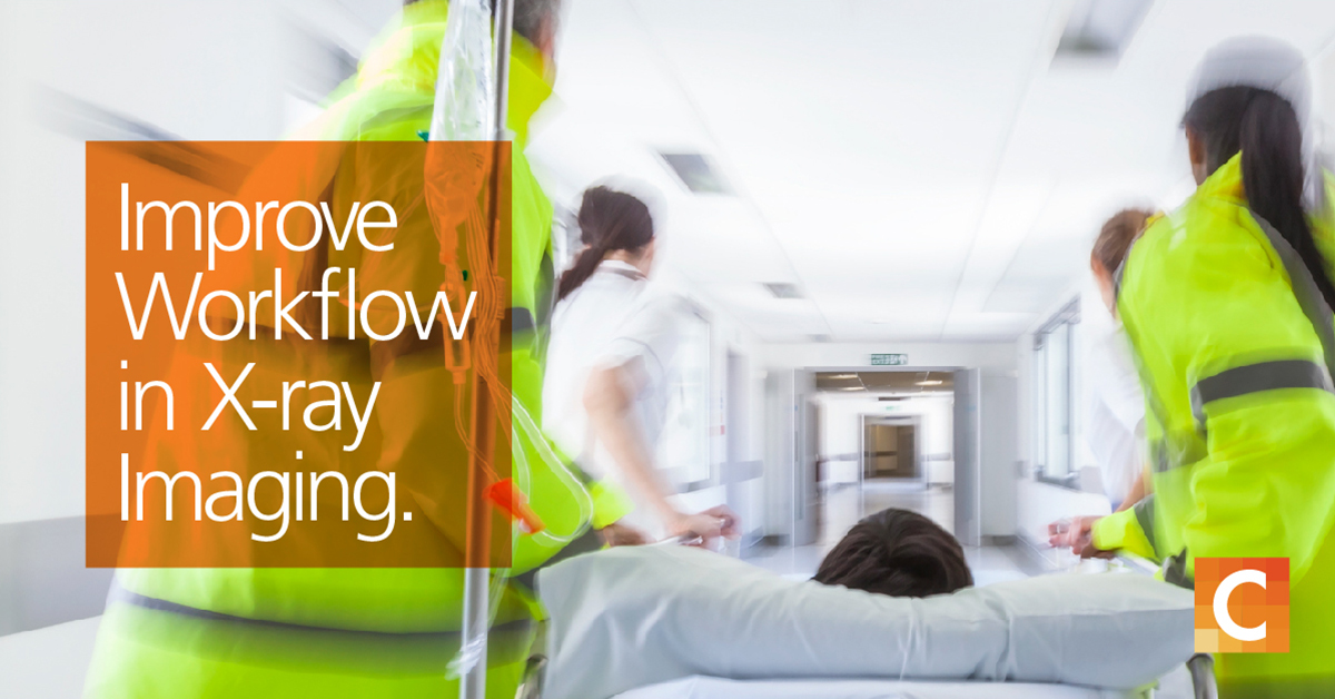 """ems in bright yellow jackets transporting patient on bed into hospital. Text in orange box on left side """"Improve Workflow in X-ray Imaging"""""""