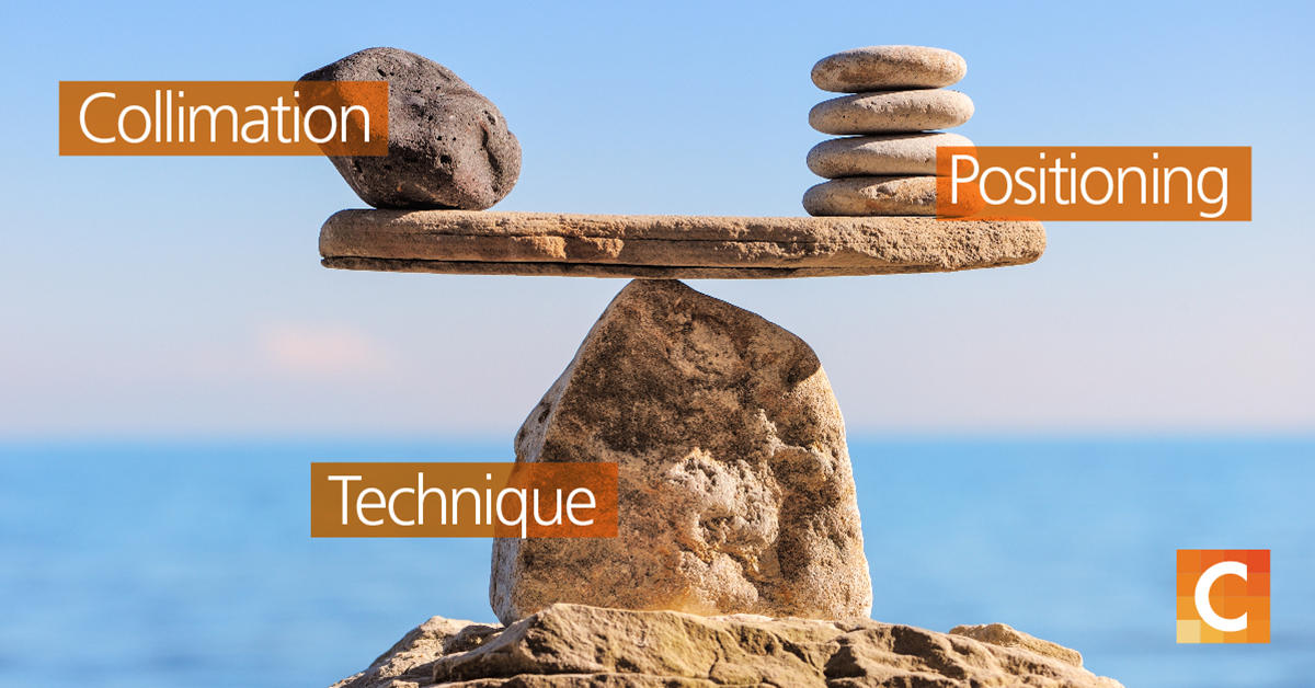 rocks on left and right side balancing on top of a rock  with texts at each pile (3) - Collimation, Positioning and Technique