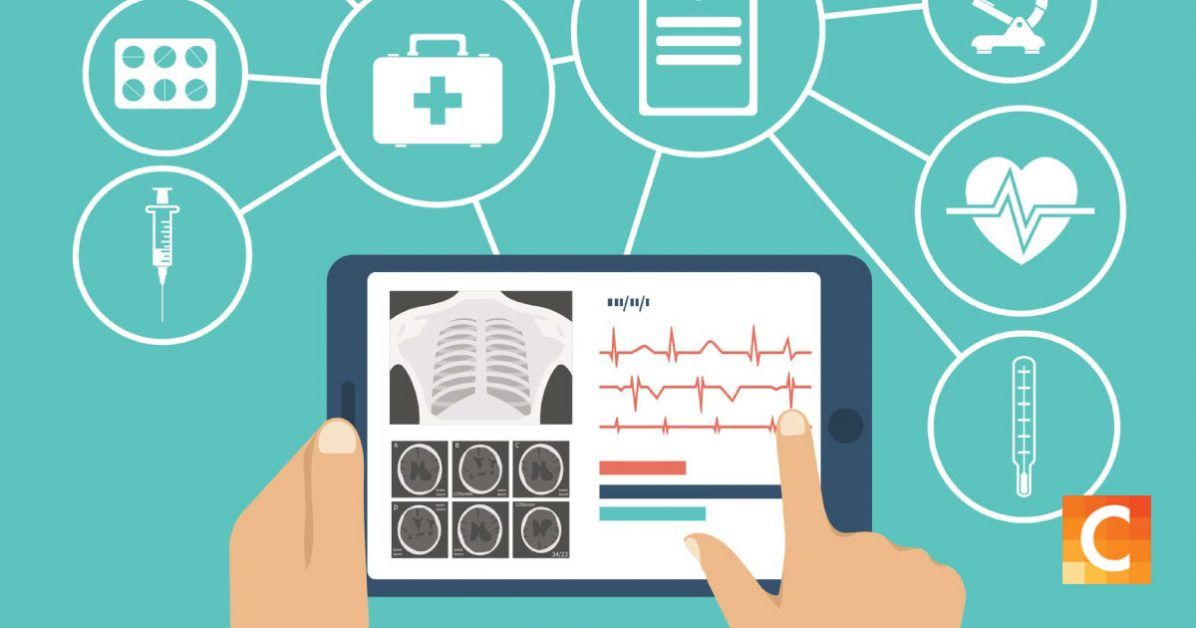data illustration of a tablet with health monitors and image of chest displayed.