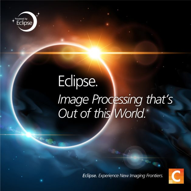 "Image of the space with the text "" Eclipse, Image Processing that's out of this world"""