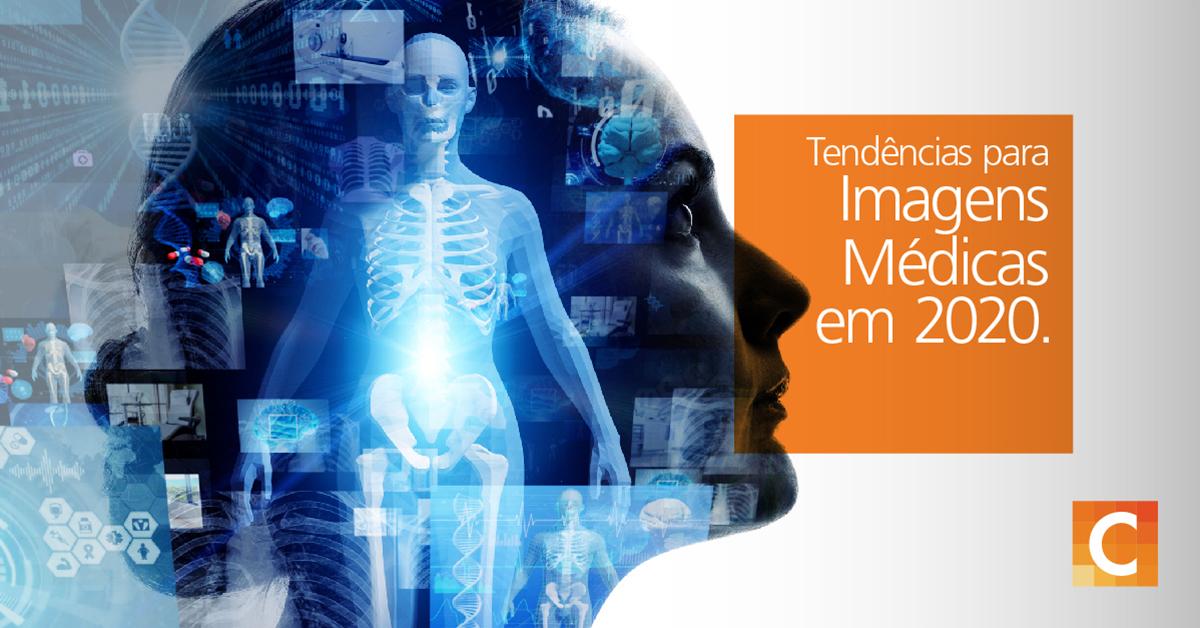 imagem lateral da cabeça de uma mulher com ilustrações de IA e dados sobrepostas sobre a cabeça. Texto - O futuro das imagens de diagnóstico