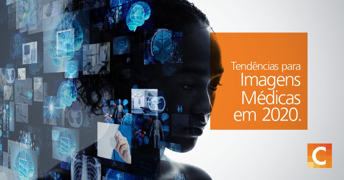 """rosto de uma mulher sobreposta a ilustrações de vários raios X e tecnologia médica no lado esquerdo da imagem, na caixa laranja do lado direito com """"TEndencias para Imagens Medicas em 2020"""""""