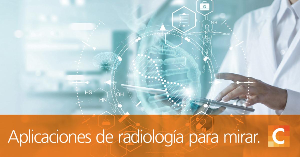 """Doctor sosteniendo tableta con ilustraciones médicas, texto en la parte inferior de la imagen """"Aplicaciones de radiología para ver en 2020"""""""