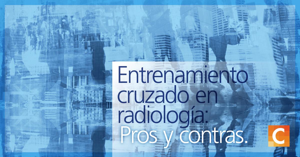 """Ilustraciones de datos y personas caminando en el fondo de la imagen junto con el texto """"entrenamiento cruzado en radiología: Pros y contras"""""""