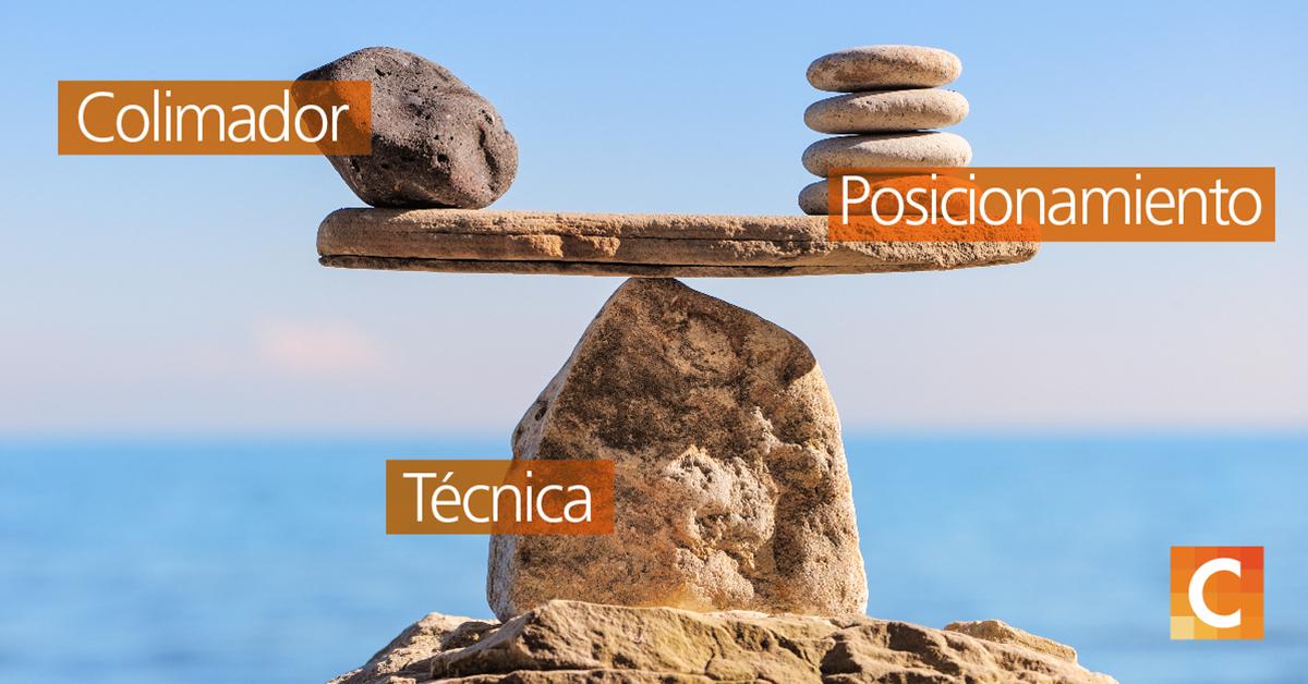 rocas en el lado izquierdo y derecho balanceándose sobre una roca con textos en cada poste (3) - Colimador, Posicionamiento y Técnica