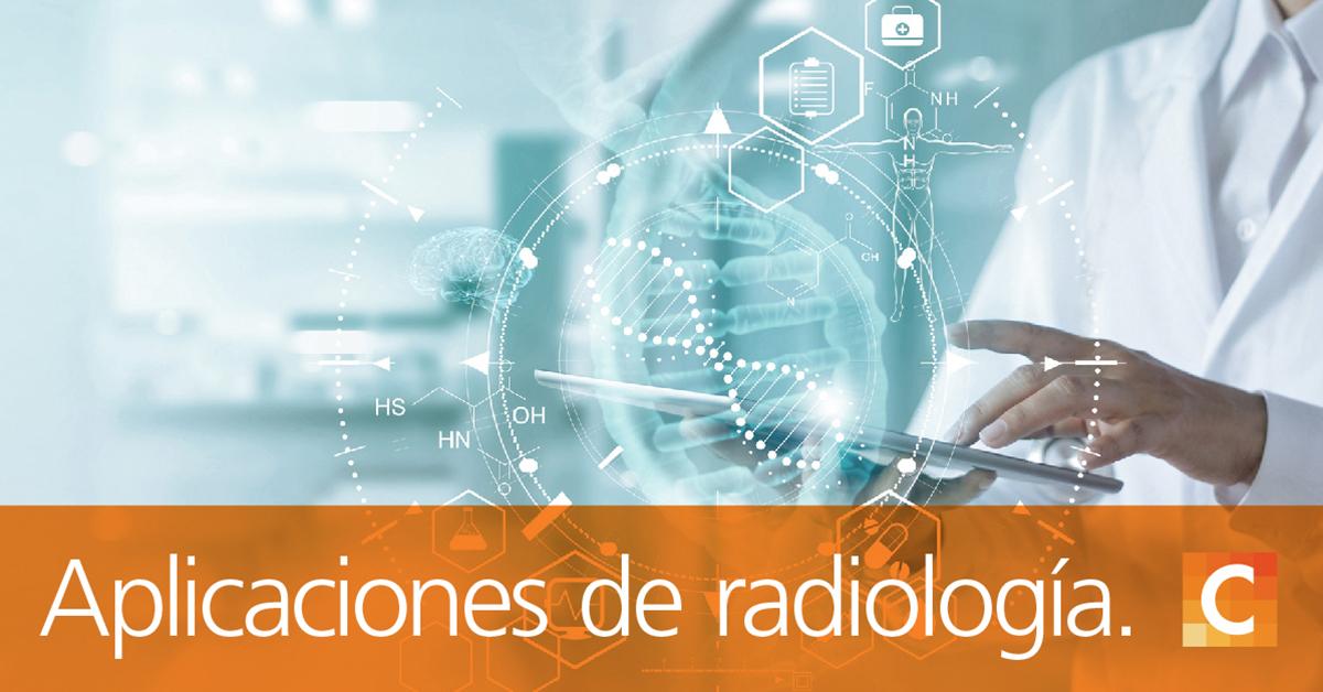 """Doutor, segurando o tablet com ilustrações médicas, texto na parte inferior da imagem """"Aplicativos de radiologia para assistir em 2020"""""""