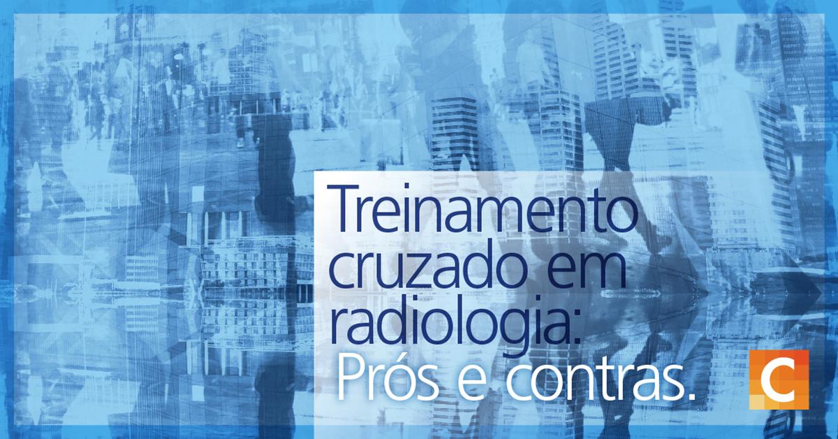 """Ilustrações de dados e pessoas andando no fundo da imagem junto com o texto """"Equipe de radiologia de treinamento cruzado: prós e contras"""""""