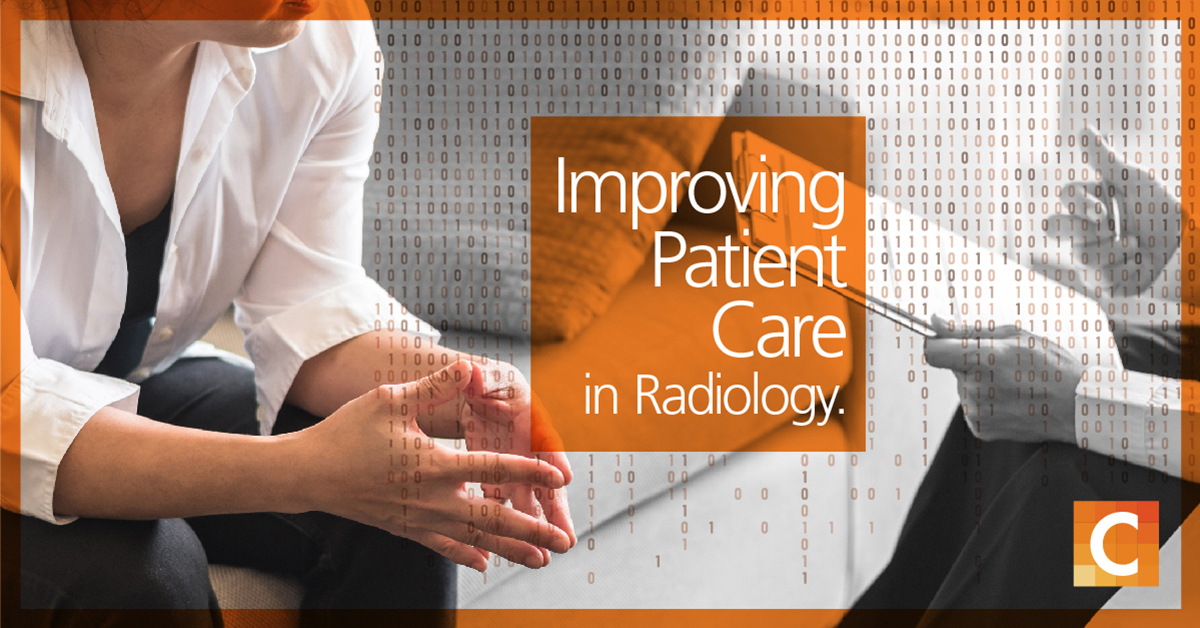 "image of a patient discussing with a professional on the right who is holding a clipboard. Text on orange overlay ""Improving Patient Care; in Radiology"""