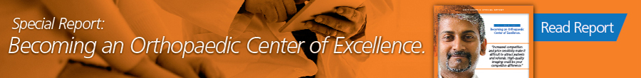 "banner image with thumbnail image of special report with text ""Special Report: Becoming an Orthopaedic Center of Excellence"""