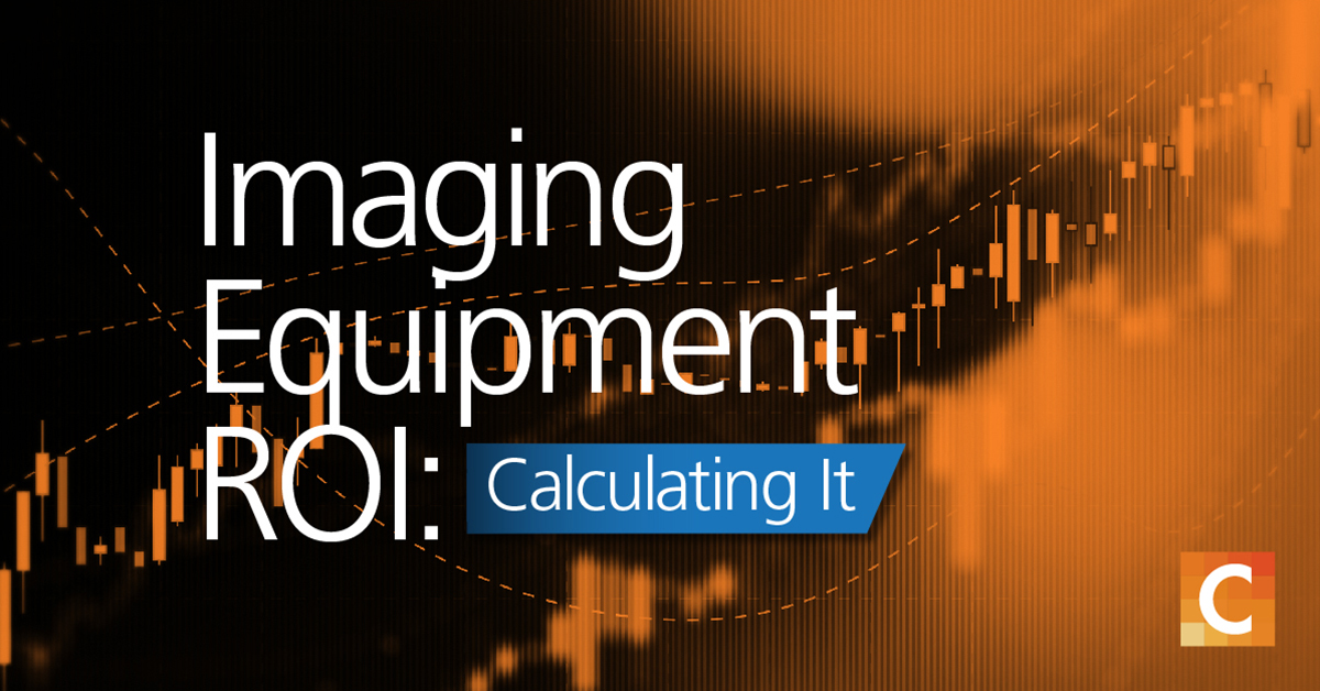 "image of data graph in background with orange overlay and text ""Imaging Equipment ROI: Calculating It"""