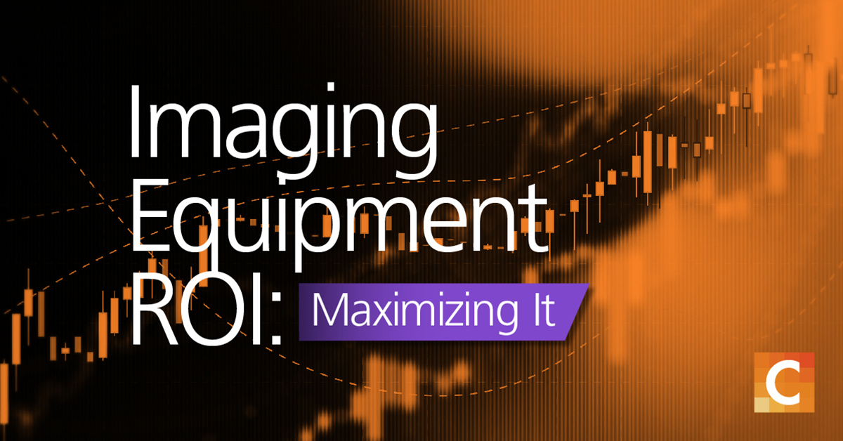 """data graph in background with text """"Imaging Equipment ROI: Maximizing it"""""""