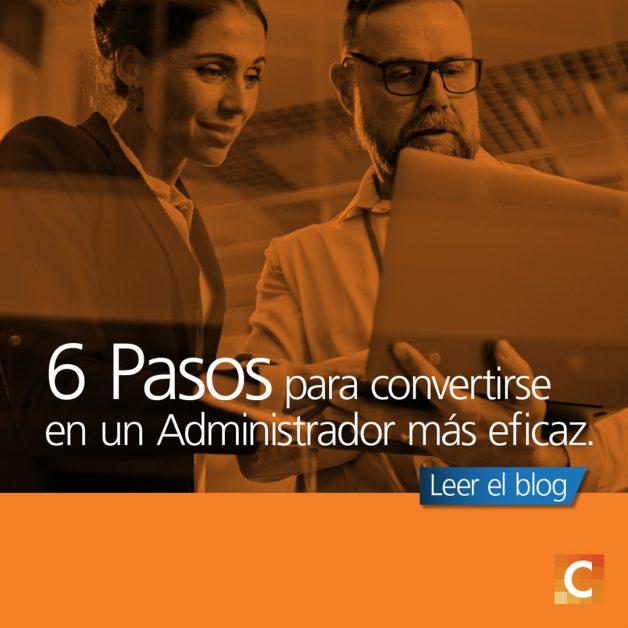 """Foto de un hombre y una mujer mirando un portátil. La frase """"6 pasos para convertirse en un administrador más eficaz"""" superpuesta."""