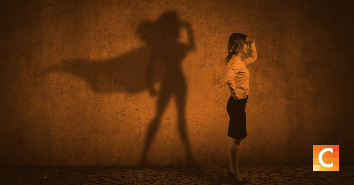 Image of a women with a super hero shadow.