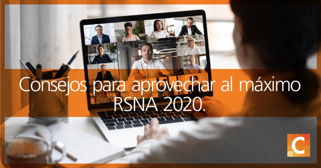"""Foto de la parte posterior de la cabeza de una mujer mirando una pantalla de computadora con varias personas en ella. Un banner de imagen en la foto que dice """"Consejos para aprovechar al máximo RSNA 2020""""."""