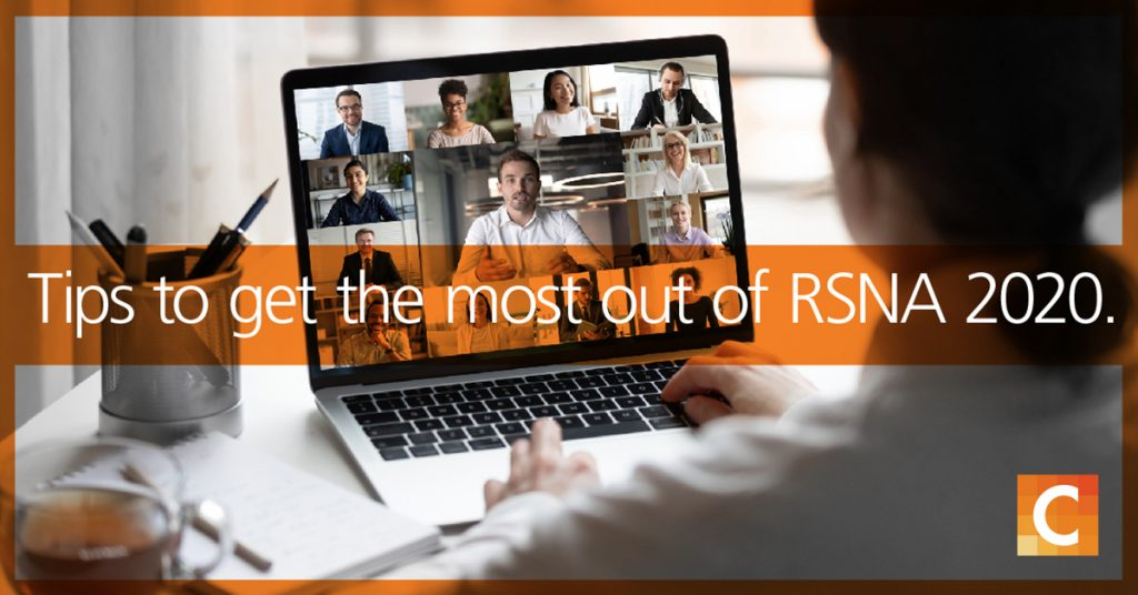 """Photo of the back of a women's head looking at a computer screen with multiple people on it. An image banner across the photo saying """"Tips to get the most out of RSNA 2020""""."""