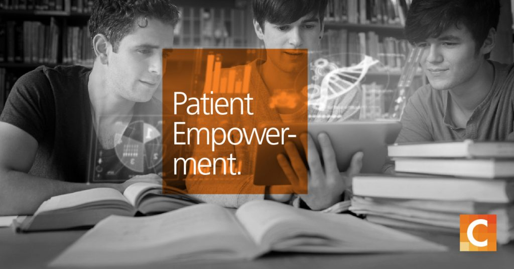 Three students studying. Orange text book reading patient empowerment. Carestream logo in the bottom right corner.