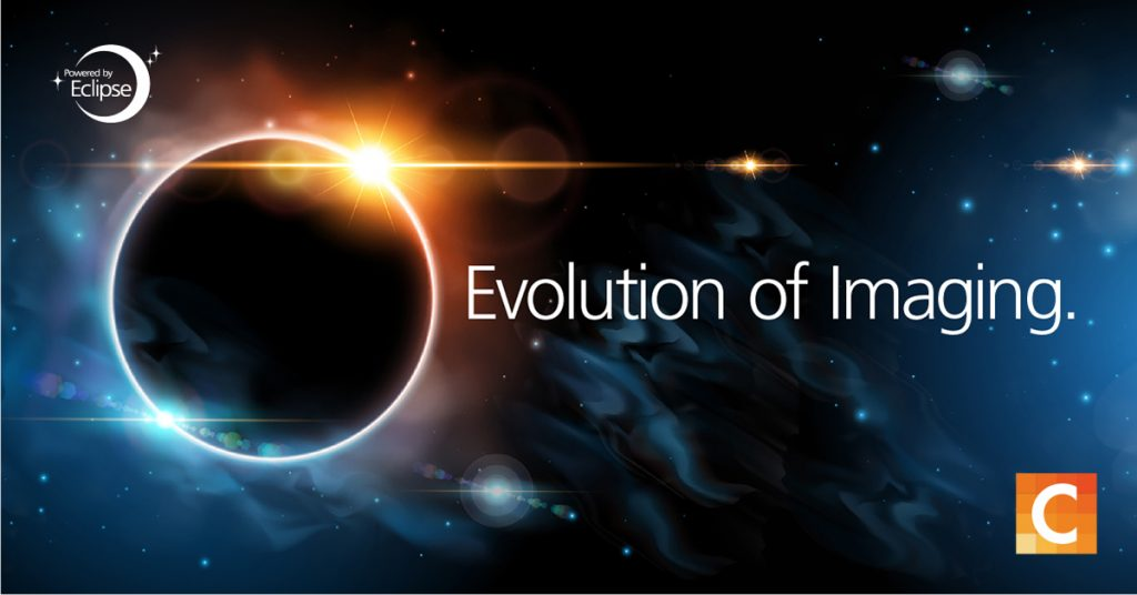 Solar eclipse with text to the right reading evolution of imaging. Carestream logo in the bottom right corner.