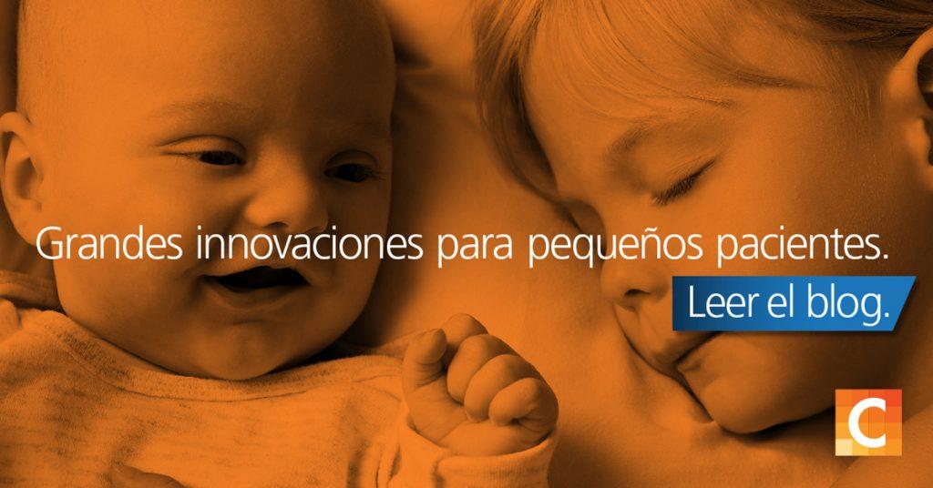 Foto de un bebé y un niño pequeño uno al lado del otro. Grandes innovaciones para pequeños pacientes escritas en la parte superior. Logotipo de Carestream en la esquina inferior derecha.