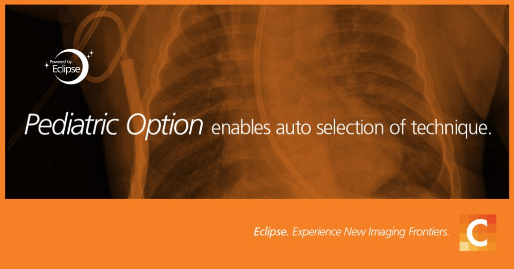 Photo of X-ray. Orange overlay with pediatric option enables auto selection of technique. Carestream logo in the bottom right corner.