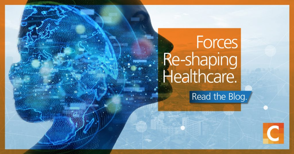 A womens face looking out into the a city. Orange text box that reads forces re-shaping healthcare, read the blog. Carestream logo in bottom right corner.