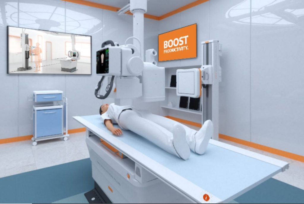 image of Carestream ECR 2021 Virtual Hospital - animated of a patient on evolution plus