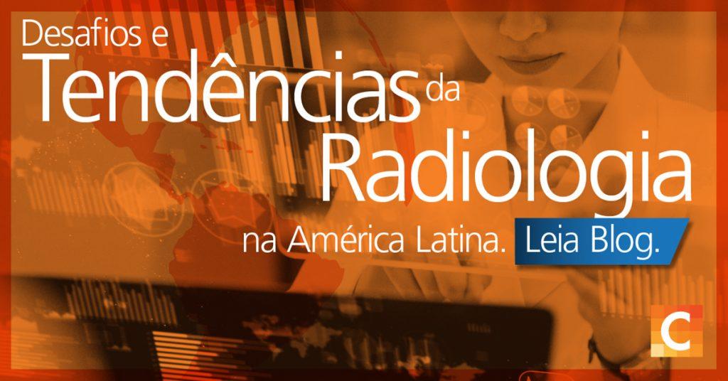 """Imagem de dados em segundo plano com radiologista. Texto """"Desafios e  Tendências de Radiologia na América Latina"""""""