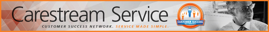 """Banner with text - """"Carestream service. Customer Success Network. Service Made Simple"""""""