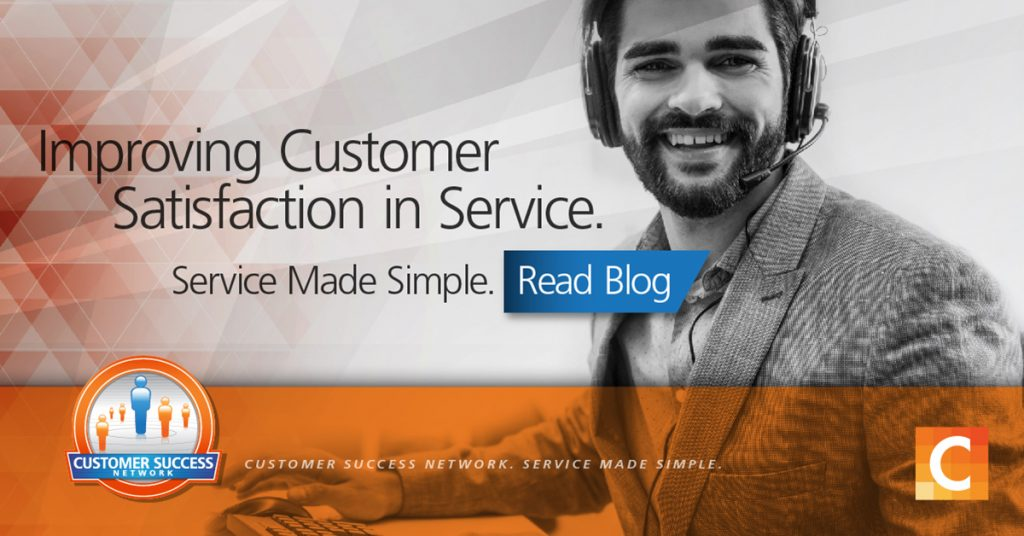 """Image of male with headset - Text - """"Improving Customer Satisfaction in Service. Service Made Simple. Read Blog"""""""
