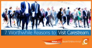abstract image of people at a conference with the text 7 worthwhile reasons to visit carestream at rsna